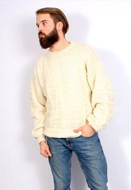 Knitted Minimalist Sweater Vintage Warm White Jumper M L