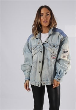 Vintage Denim Jacket Oversized Fitted UK 16 - 18  XL (AP1Q)
