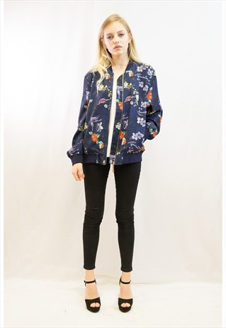 FLORAL & BIRD PRINT BOMBER JACKET (NAVY BLUE)