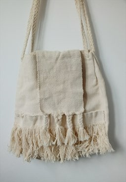 crochet beige white corduroy cotton bag shopper bag tote bag