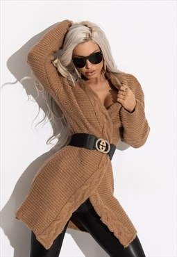 Brown long sleeve wrap cardigan with belt
