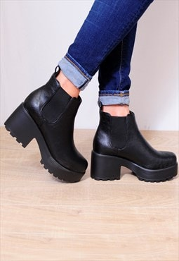 Black Lace Ups Cleated Platforms Chelsea Ankle Boots