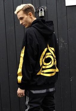 Loose fit oversize drop shoulder gold foil print hoodie top