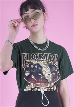 Vintage Reworked Crop Top T-Shirt in Green w Florida Print