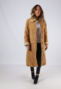 Sheepskin Suede Leather Shearling Coat UK 8 - 10 (LJ3E)
