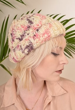 Vintage Knitted Beanie Hat Cream