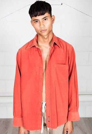 VINTAGE OFF RED CORDUROY SHIRT