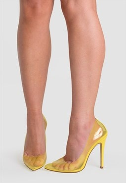 Kate Stiletto Heel Court Shoes in Yellow Perspex