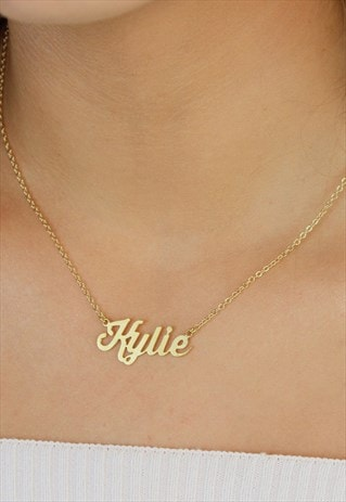 PERSONALISED NAMEPLATE NECKLACE GOLD PLATED SCRIPT NAME
