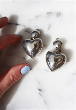 Vintage Silver Heart Clip On Drop Earrings