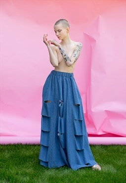 Denim skirt/ Denim maxi skirt/ maxi skirt/ long skirt/
