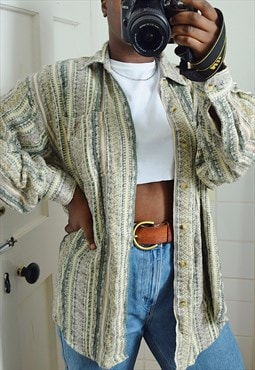 Unisex Vintage knitted patterned shirt in cream