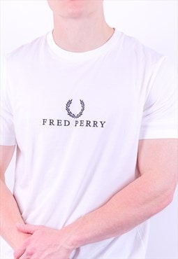 Vintage Fred Perry Spell Out Embroidery T-Shirt in White