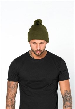 Essential Bobble Cuffed Beanie Hat - Khaki Olive Green