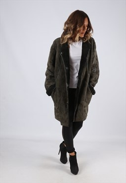 Sheepskin Suede Leather Shearling Coat UK 14 Large (LJ3N)