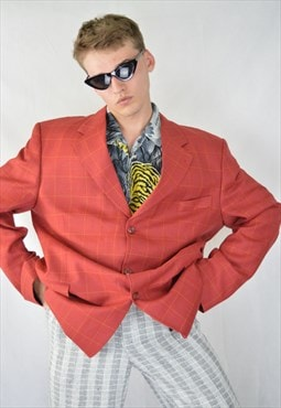 Vintage red checkered classic wool suit rave blazer