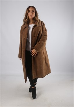 Vintage Sheepskin Suede Shearling Coat Mid Long UK 18 (K9BL)