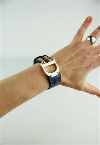 VINTAGE NAVY LEATHER CUFF WITH GOLD HARDWARE INITIAL 'D'