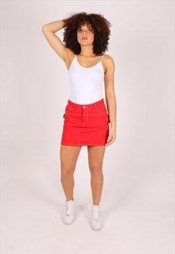 Rodeo mini denim skirt in deep red