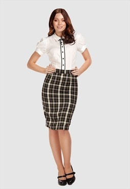Polly Geek Vintage Style Checked Midi Pencil Skirt