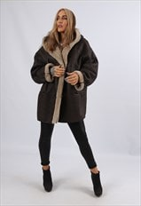 Y2K Faux Suede 'Sheepskin Style' Coat Hooded Short 16 (JCY)