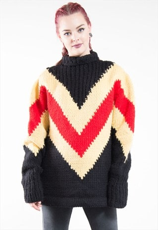 VINTAGE CHEVRON PATTERN CHUNKY KNIT ROLL NECK JUMPER