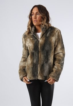 Faux Fur Coat Jacket Short Vintage UK 10 (A92F)