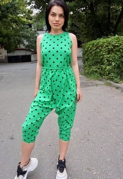 80s Vintage Two Piece Green Polka Dot Suit
