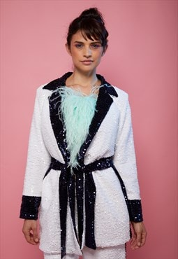 White sequins co-ordinates suit
