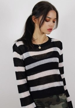Vintage Black & White Stripe Sheer Jumper