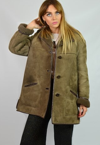 VINTAGE 70S LIGHT BROWN SHEEPSKIN SHEARLING COAT