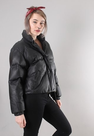 VINTAGE 90S BLACK LEATHER PUFFER COAT JACKET
