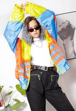 90s grunge y2k goth neon striped windbreaker jogger jacket