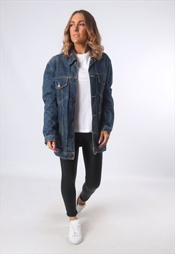 Denim Jacket LONG Longline Oversized Fitted UK 14  (EEAI)