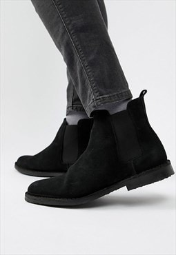 Essential Suede Smart Chelsea Boots Shoes - Black