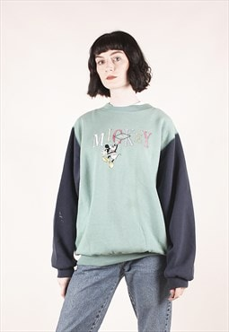 Vintage Disney Mickey Mouse Pastel Green Sweatshirt /MM2406