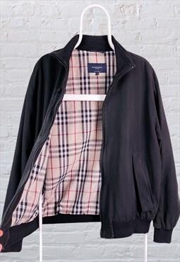 Vintage Burberry Nova Check Jacket Harrington Black Large
