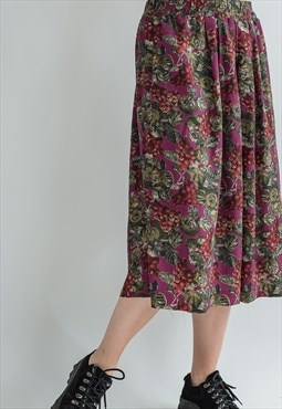 Vintage 80s pleated high waist skirt in berry pattern