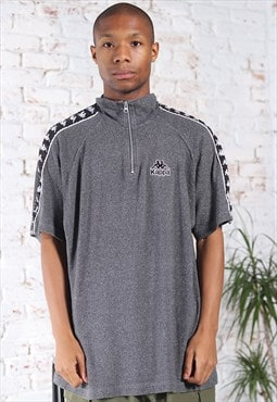Vintage Kappa 1/4 zip tape logo Top Grey