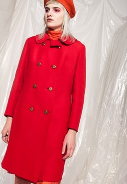 Vintage winter coat 60s mod red wool double breasted jacket