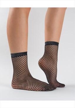 fishnet macrame ankle socks
