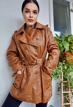 Vintage Double Breasted Brown Leather Trench Coat