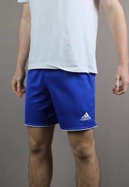 Vintage Adidas Shorts in Navy Blue with No Pockets and Embro