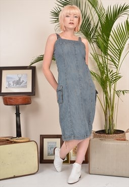 Vintage 90s Denim Pinafore Midi Dress Blue