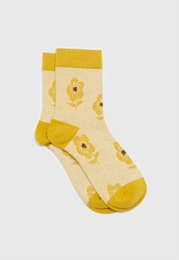 Yellow jacquard flower socks