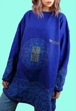 Vintage 90's JEEZ NO Oversized Rave Sweatshirt in Blue
