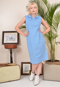 Vintage 70s Midi Shift Dress Blue