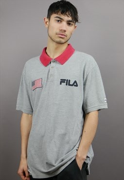 Vintage Fila Polo Shirt in Grey & Red with Logo & USA Flag