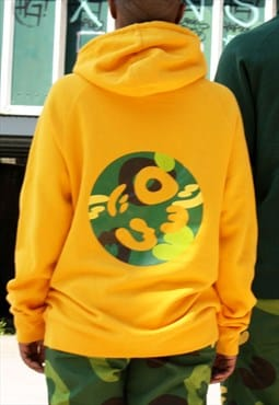 Pullover Yellow Hoodie Jumbo Back print Camouflage Logo