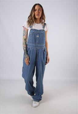 Vintage OLD NAVY Denim Dungarees Wide Leg UK 14 Large (C1H)